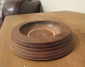 Laminated American Black Walnut & English Sycamore Veneer Small Bowl