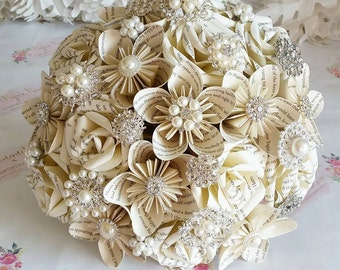 Paper wedding bouquet flower origami Harry Potter Princess Bride Literary Book page novel Jane Eyre Novel crystal pearl brooch theme