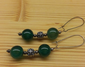 intage Handmade Long Earring Green Jade Round Beads Natural Gemstone