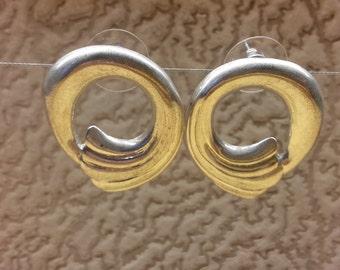 Vintage Brass Silver Plated Charming Women Stud Earrings