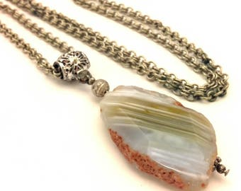 Vintage Raw Striped Gray Agate Gemstone Pendant Necklace Silver Plated Chain