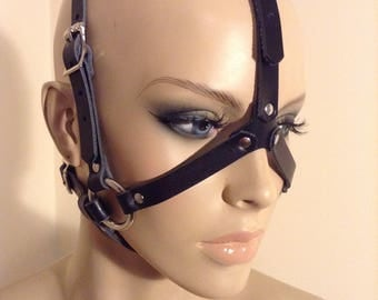 Black Leather Open-Faced Head Harness