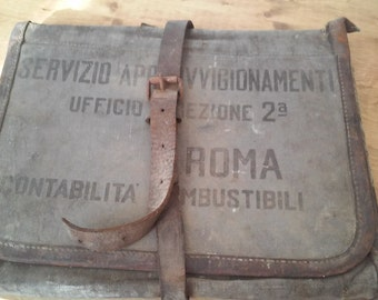 Old Briefcase folder canvas WWII Italy railway militaria