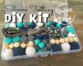 DIY Silicone Teething Kit - Silicone Beads & Supplies - Make Your Own Baby Chew Jewelry Teething Necklace - Sapphire/White/Turq/Grey (CW)