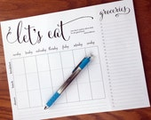 """On Top of It """"Let's Eat"""" Weekly quote meal planning note pad with tear-off grocery list, weekly meal planner notepad fridge meal planner pad"""