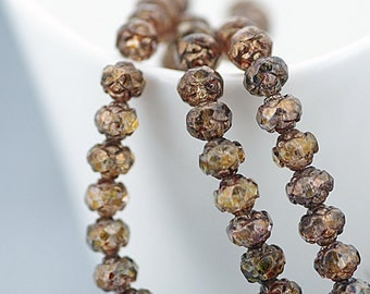 Czech beads, Bronze Picasso 5x6mm Rosebud Faceted Round Glass Brown Beads x 25