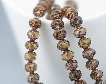 Czech beads, Bronze Lustre 5x6mm Rosebud Faceted Round Glass Brown Beads x 25