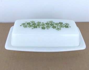 Vintage Pyrex Crazy Daisy, Spring Blossom Pattern Quarter Pound Covered Butter Dish with Lid