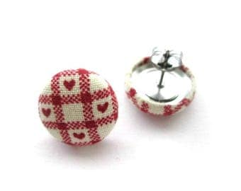 """16mm Red heart fabric covered button stud earrings, post earrings, fabric earrings, ear studs jewelry, 5/8"""""""