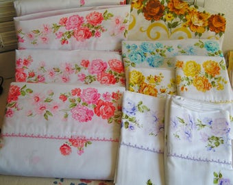 Vintage Roses & Eyelet Lace JC Penney Fashion Manor Muslin Sheets and Pillow Cases in Pink Lavender Blue and Yellow Cottage Chic Unused USA