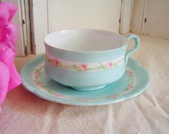 Vintge Pink Roses Hand Painted Teacup and Saucer Set Pink and Blue Teacup Bavarian Porcelain Cottage Chic Teacup Tea Party