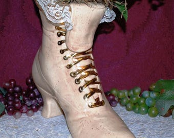 """11"""" Cream Color Ceramic Victorian Gold Lace Lady's Boot W/ Pink Flowers"""