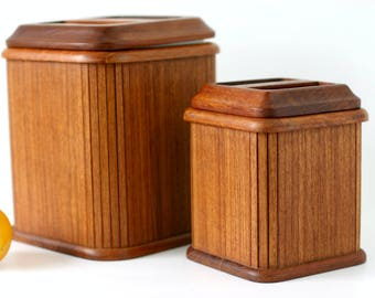 RARE Danish Modern Teak Canisters - Set of 2 by Kalmar Designs - Tambour Style Wood Storage Containers - Mid Century Kitchen