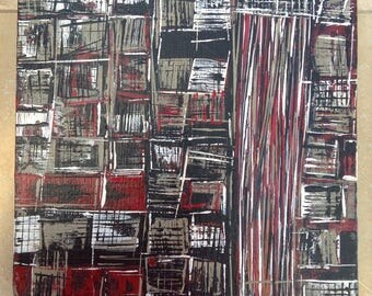 "Original Abstract Painting, 10x10 Acrylic on Canvas, ""Dilapitated"", Original Art"