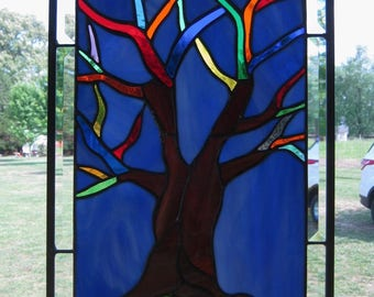 "Tree of Life"" Stained Glass Panel 18"" x 12 1/2"""