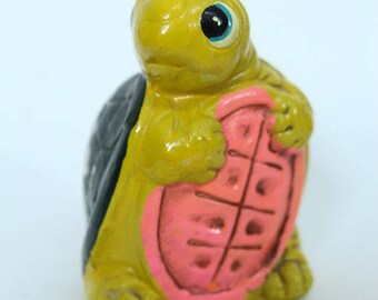 Cute Vintage Turtle Bank, Paper Mache, Yellow and Green Made in Japan