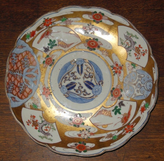 """Fine Japanese Export Meiji Period Fluted Dish Charger Plate 12"""" Blue Seal Mark"""