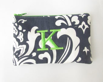 Monogram Make up Bag - K pouch - Ready to Ship - Christmas Stocking Stuffer - Cosmetic bag - Make up Clutch - Monogrammed Gift - Small