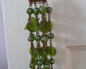 Vintage Glass Bead Leaf Tassel