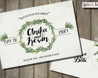 Greenery Save the Date Cards-- Printed option or Digital file