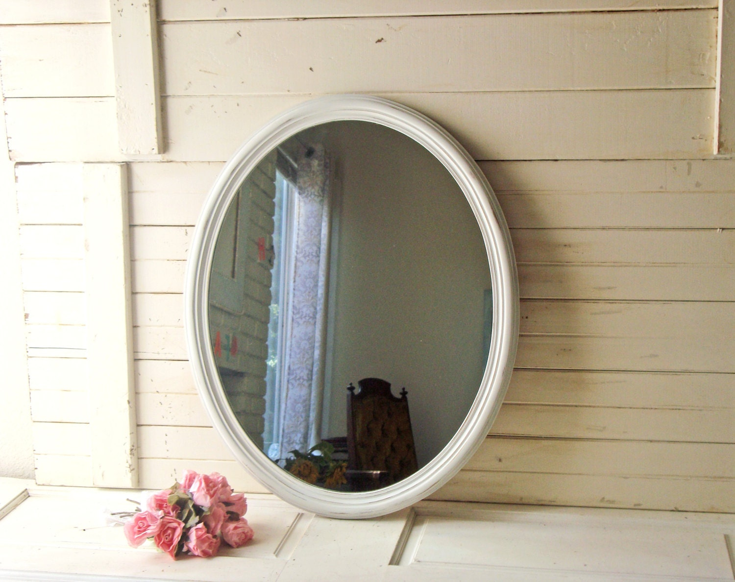 cottage white oval mirror large white distressed mirror shab