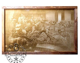 Army Desert Storm 3D Wood, Laser Etched,Photographic 3D Textured  Plaque 15.5 inch Framed  CR8-0167