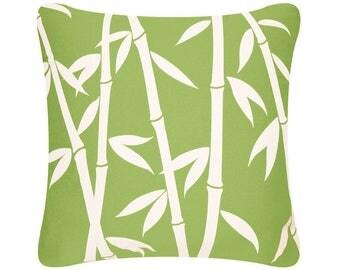 ON SALE-Bamboo Organic Cotton Throw Pillow Cover, Green, Orange, Purple, Tropical Pillows, Decorative Pillows, Floral Pillows, 18 x 18 Inch