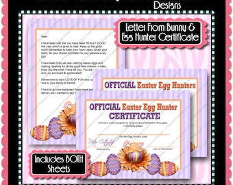 Letter From Easter Bunny & Egg Hunter Certificate -  Instant Download JPEG (M169) Digital JPG to Personalize