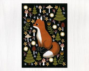hello fox postcard