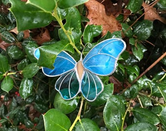 Butterfly Suncatcher Large Stained Glass Turquoise Blue