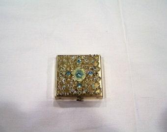 Dorset Fifth Avenue compact/powder case, blue rhinestones