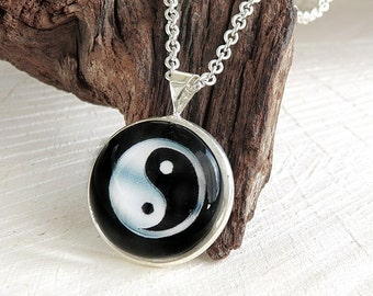 Yin Yang Glass Dome Necklace, Art Print Pendant, Glass Jewelry