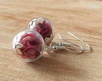Real Dried Flower Earrings, Red Cornflower Petals, Glass Globe Jewelry