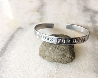 Brows For Days Stamped Metal Cuff Bracelet