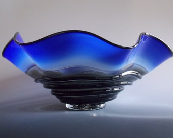 Hand Blown Cobalt Blue Incalmo Handkerchief Bowl