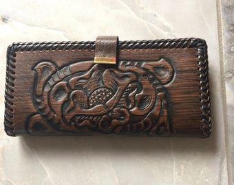 Vintage Jo-O-Kay/Joo-Kay Dark Brown Hand Tooled Embellished Bi Fold Wallet