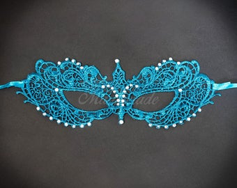 Dark Teal Lace Mask, RHINESTONES, lace mask, shades of Teal, lace masquerade mask, Dark Teal Lace Mask, lace mask w/ Rhinestones