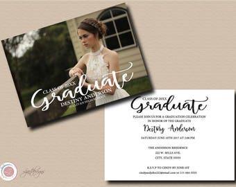 Digital Graduation Invitation, Announcement, Photo Invitation, Class Of, Graduate, Made to Order, Custom, Grad Party, Typography, Text