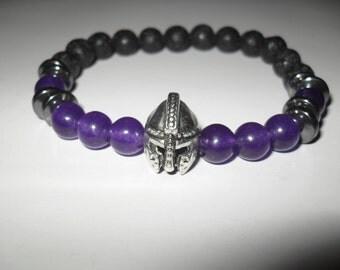 bracelet, stretch bracelet, unisex bracelet, warrior, spartan, spartan helmet, gladiator helmet, hematite, amythest beads, custom bracelet