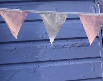 Pink Bunting, Pink Polka Dot Bunting, Pink Heart Bunting, Handmade Bunting, Girl Bunting, Nursery Decor, Baby Girl Nursery Decor