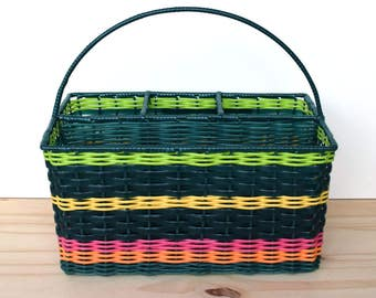 Vintage woven plastic basket in rainbow colours