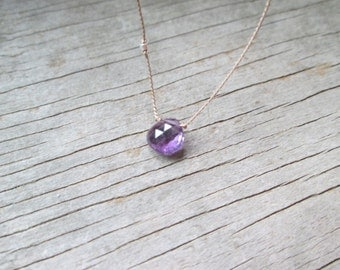AMETHYST necklace with tiny fine silver nugget bead hand knotted on a thin silk cord February birthstone dainty delicate natural minimalist