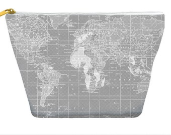 World Map pencil case, gray world map, makeup bag, travel, small gifts,  zipper pouch bag T-bottom, gift