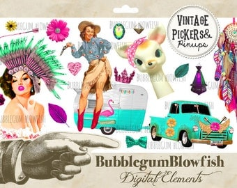 VinTagE PicKeRs & PiNuPs Rusty Pickup trucks cowgirl feathers fun AntiQuEs Digital Graphic Design Elements