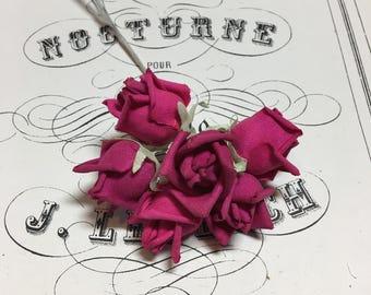 Dark pink vintage millinery rosebuds