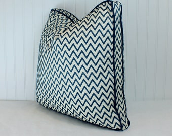 Both Sides - One Orchha Stitch Nile Pillow Cover or Box/Gusset Pillow Cover with Indigo Cording or Knife Edge