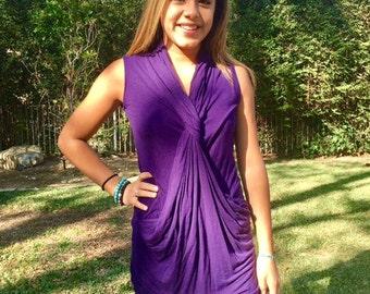 Tunic top, purple, spandex, Rayon,medium, sleeveless top, tunic
