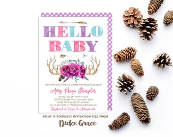 hello baby invitations, sip and see invites, boho purple pink teal, meet baby invitation, bohemian sip & see, tribal arrows antlers invites