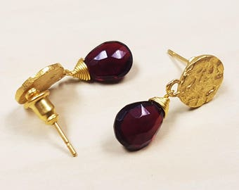 Garnet and 24 Carat Gold Plated Drop Earrings - Real Semi-Precious Stone Jewelry/ Jewellery - Birthday - Christmas - Gift - FREE UK DELIVERY
