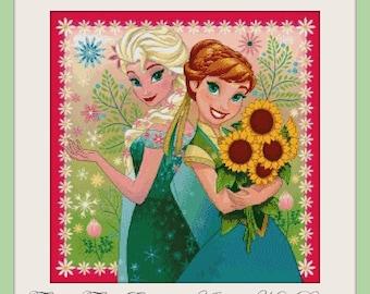 Frozen Fever Elsa and Anna - cross stitch pattern - cross stitch frozen - cross stitch elsa - cross stitch anna - PDF pattern - frozen